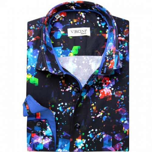 Navy blue shirt with a mix of colors