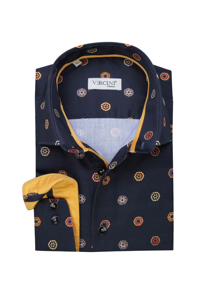 Navy blue shirt with colorful hexagons