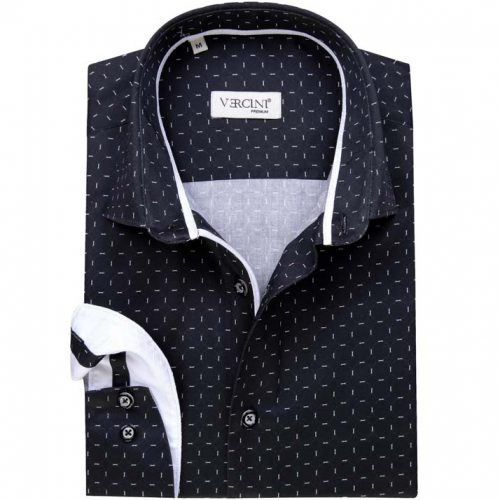 Navy blue shirt with white streaks