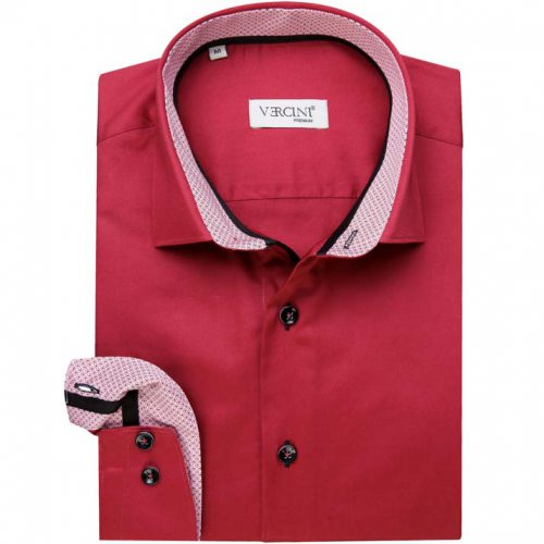 Red dress shirt with a light red cuff