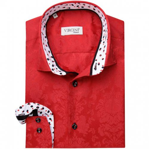 Red shirt with blended floral pattern