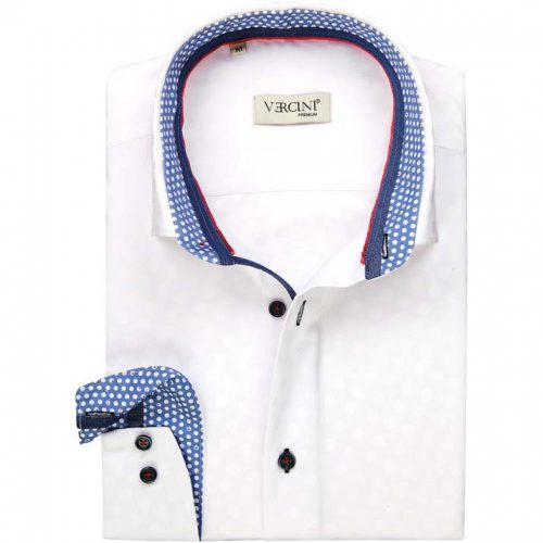 White dress shirt with a blue collar