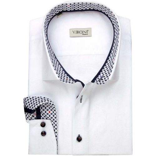 White shirt with a blue colorful collar