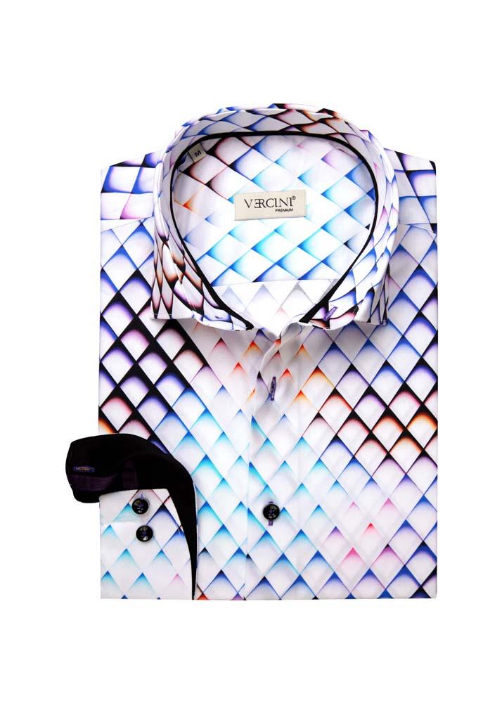 White shirt with a diamond pattern