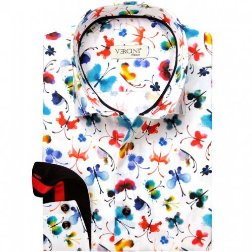 White shirt with colored butterflies