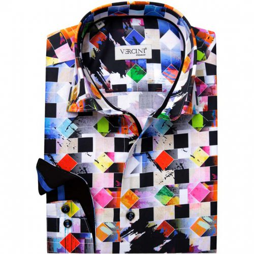 White shirt with colorful diamonds