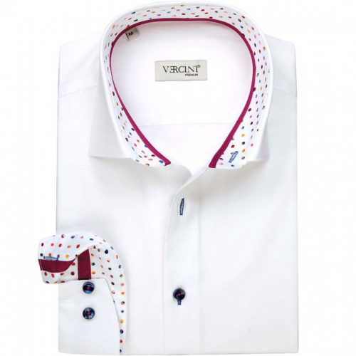 White shirt with colorful dots in the collar