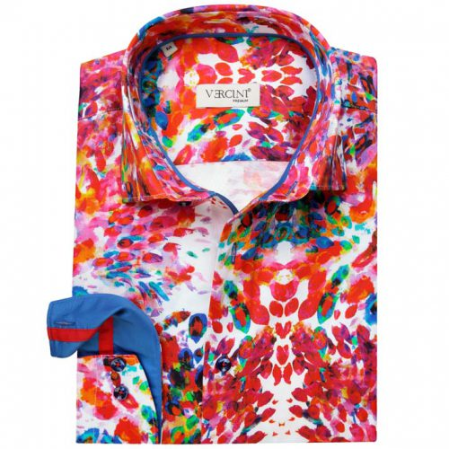 White shirt with colorful paint pattern