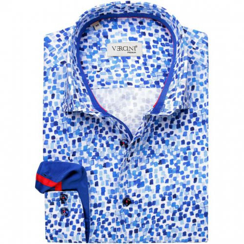 White shirt with dark and light blue spots