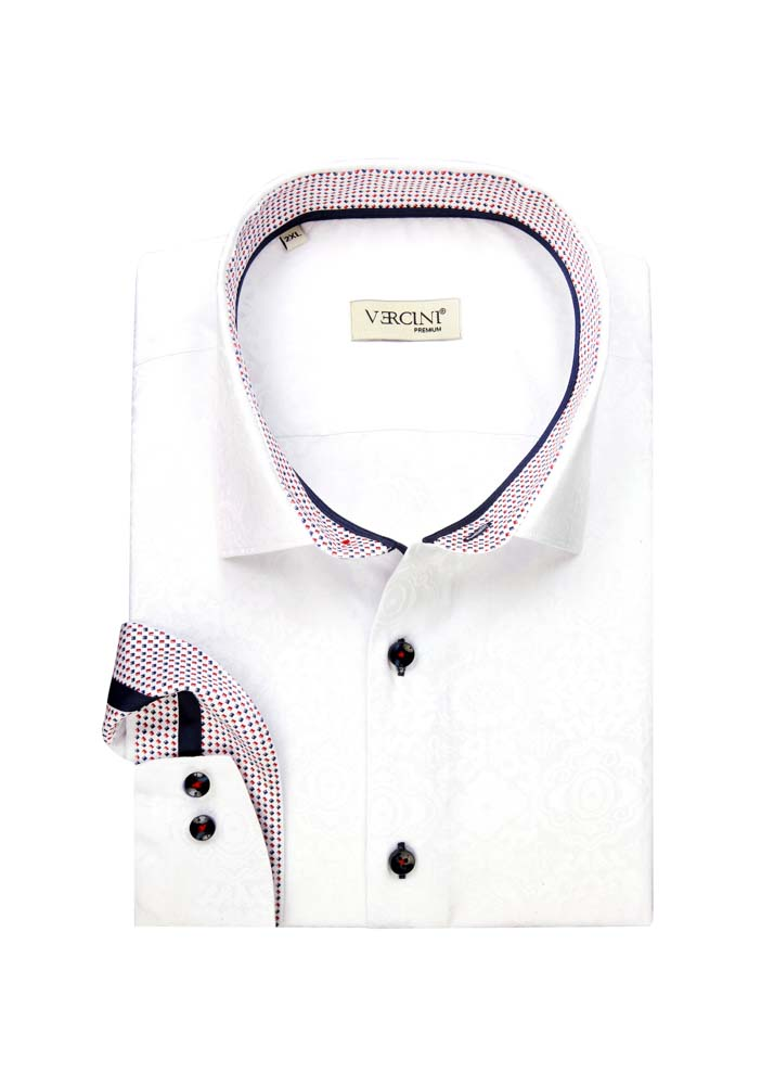 White dress shirt with small patterns on the collar
