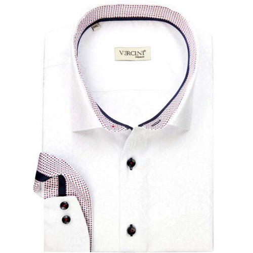White shirt with red and blue pattern collar
