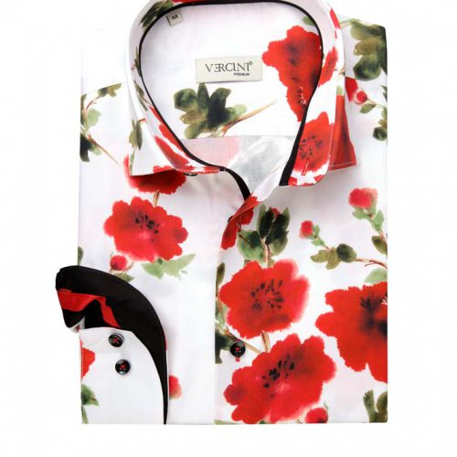 White shirt with red flowers