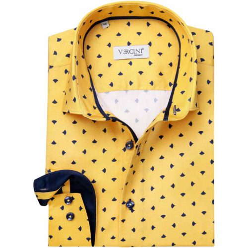 Yellow dress shirt with a navy pattern